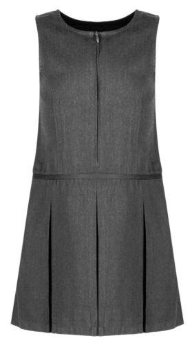 *New* Girls Grey Pleated School Zip Pinafore Dress Teflon Uniform ages 4-11 yrs