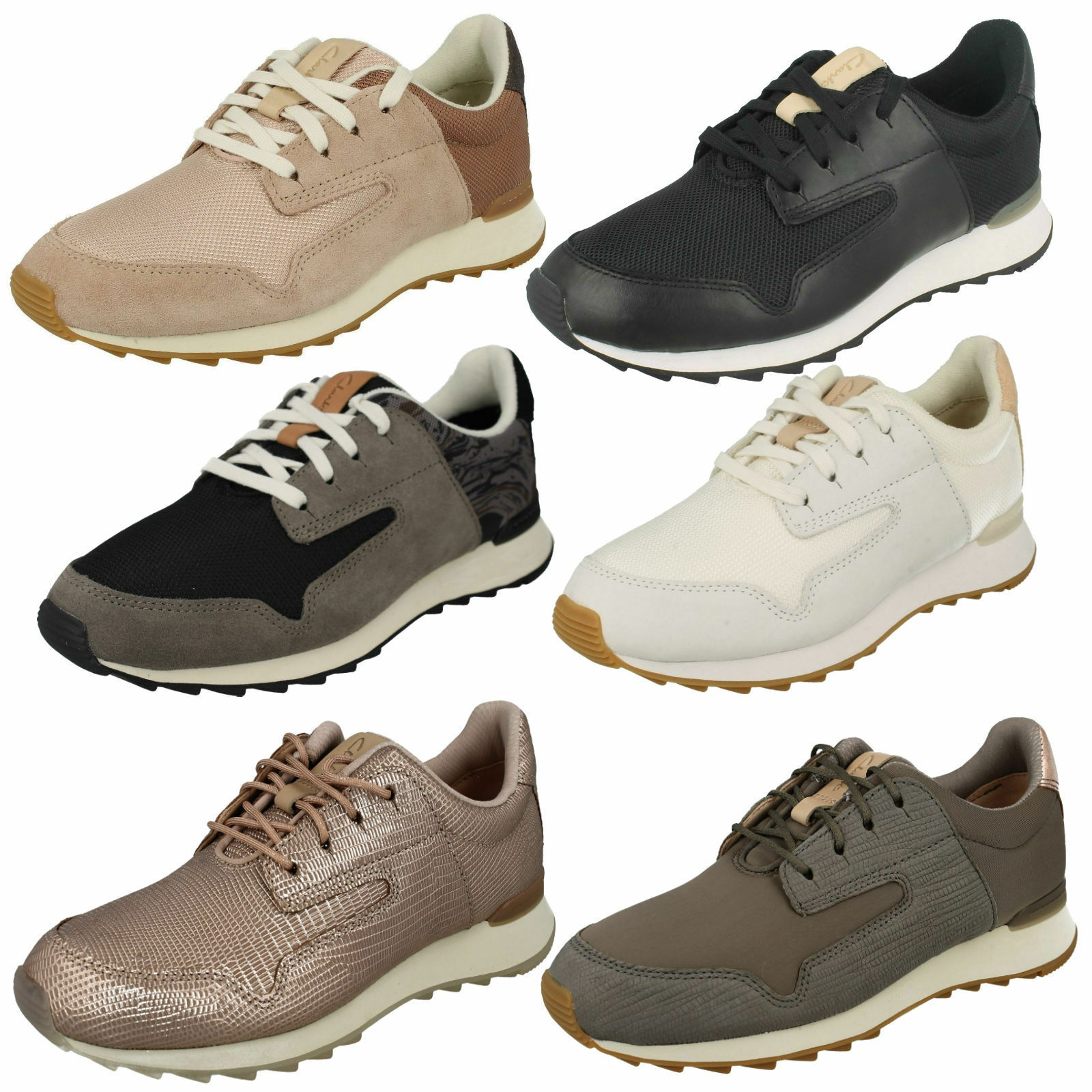 LADIES CLARKS LACE UP CASUAL WALKING LEATHER TRAINERS SPORTS SHOES FLOURA MIX