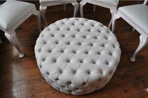 Awe Inspiring Details About Large 35 Diameter Circular Modern Ottomans Footstool Fabric Boston Ibiza Gmtry Best Dining Table And Chair Ideas Images Gmtryco
