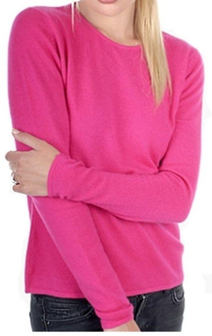 Balldiri 100% Cashmere Damen Pullover Rundhals 2-fädig fuchsie XL