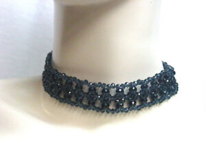 Beaded-Choker-Dark-Blue-Necklace-Edwardian-Victorian-Vintage-Antique-Style