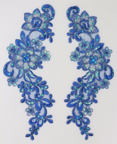 2 Pièces Extra Large Brodé Venise Lace Fleurs Applique Garniture Motifs # 12