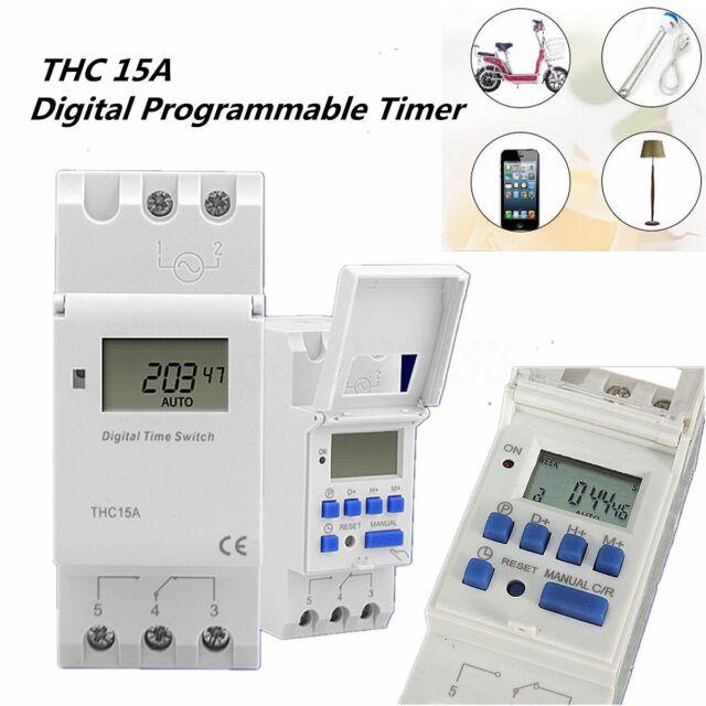 THC15A LCD Digitale Programmatore Orario Modulare Timer Interruttore Rele MODULI