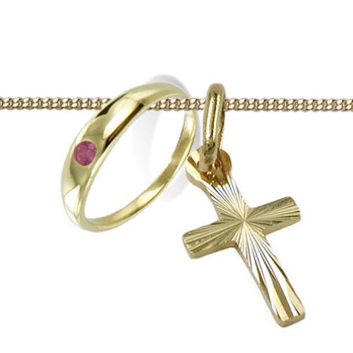 Taufe Set Baby Taufring mit Rubin rosa rot und Kreuz Anhänger Echt Gold 333 Neu