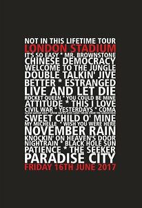 Guns N Roses - London Stadium - London -  16t & 17th June 2017 - Set List