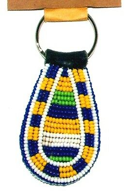 "South African Beaded Teardrop Keychain 2.5"" Traditional Colors FREE SHIPPING L19"