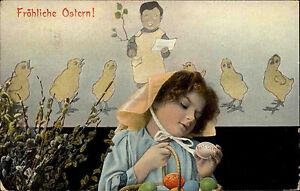 Frohe-Ostern-Fest-1906-Maedchen-mit-bunten-Ostereiern-Kueken-pfeifen-ein-Lied-AK
