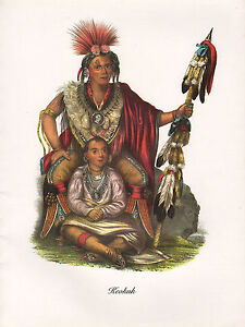 VINTAGE-PRINT-of-1830-039-s-NATIVE-AMERICAN-INDIAN-KEOKUK-CHIEF-of-SAUK-amp-FOX