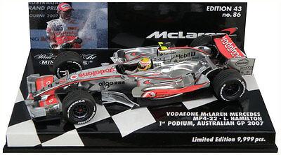 MINICHAMPS 530 074312 McLAREN  MP4-22 F1 LEWIS HAMILTON Australian GP 2007 1:43