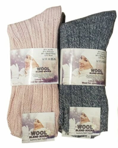 3 Pairs Ladies Girls Wool Blend Winter Boot Socks Fit Shoe 4 to 7
