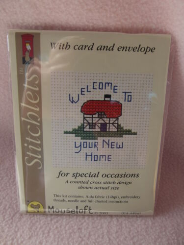 MOUSELOFT STITCHLETS CROSS STITCH KIT ~ WELCOME NEW HOME ~ CARD /& ENVELOPE ~ NEW