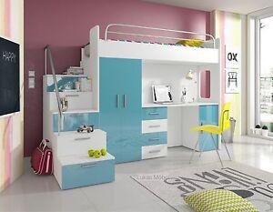 hochbett etagenbett alice hochglanz weiss t rkis bett schrank schreibtisch ebay. Black Bedroom Furniture Sets. Home Design Ideas