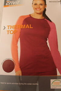 Thermal-Top-Women-Red-size-S-10-12-M-14-16-L-18-20-Sports-Activities-Winter
