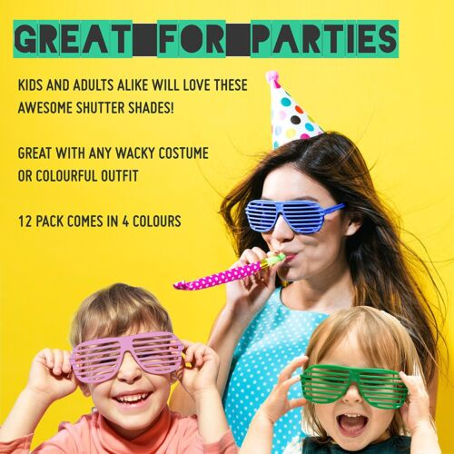 12PCS Shutter Shades Novelty Glasses Party Photo Props Assorted Colours Plastic