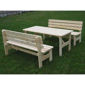 Set da giardino in legno un tavolo e due panche legno massiccio ebay - Tavolo e panche da giardino ...