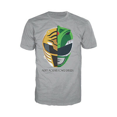 Power Rangers White-Green Ranger Face Off Official Mens Ladies T-Shirt Grey