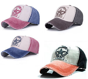 Men-Women-Vintage-Star-Snapback-Baseball-Ball-Cap-Outdoor-Sports-Hats-Adjustable