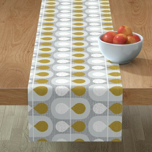 Table Runner Mid Century Modern Scandinavian Abstract Geometric Cotton Sateen