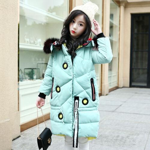 Girls Kids Padded School Warm Winter Coat Jacket Colour Fur Hooded Long Parka
