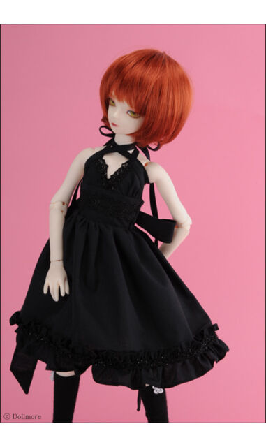OOAK dress gown black elastic lace outfit for BJD Doll 1//4 Popovy size