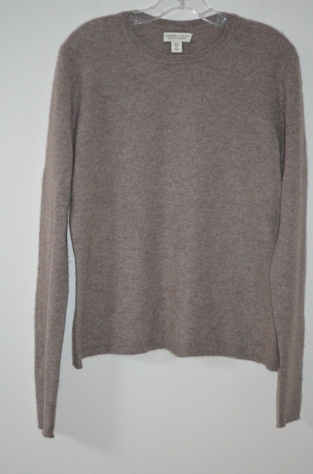 Adrienne Vittadini Beige 100% Cashmere Scoop Neck Lange Sleeve Sweater Größe S