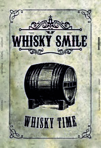 Whisky-Flacon-Baril-Panneau-Metallique-Plaque-Voute-Etain-Signer-20-X-30-CM