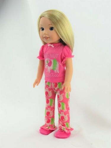 "Doll Clothes Pink Elephant Pajamas PJs For 14.5/"" Wellie Wishers American Girl"