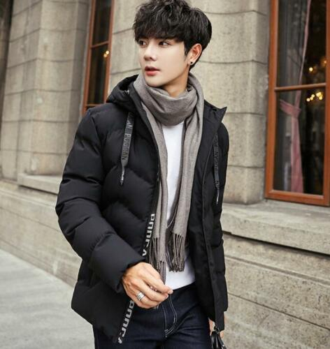 Men/'s Winter Korean Casual Jacket Slim Short Thicken Warm Cotton Hooded Coat New