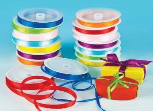 Colorful satin ribbons with 8 colors each in 3mm /& 12mm size 7.5 meters each