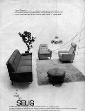 Selig Finn Anderson Mid Century Modern Curvilinear Furniture SOFA Chair 1963 Ad