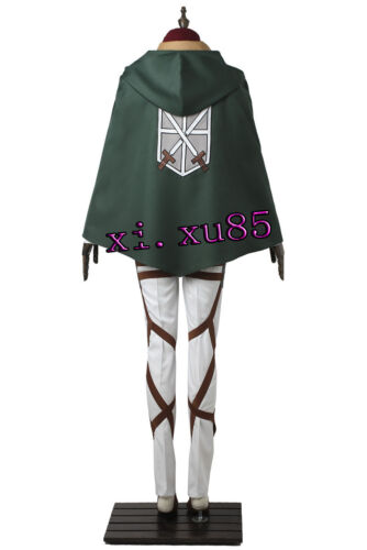 HOT COS Mikasa Ackerman From Attack on Titan Cosplay Costume Hallowen All Size