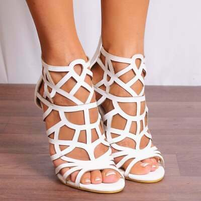 Erfinderisch White Strappy Peep Toes Stilettos High Heeled Sandals Heels Shoes Size 3 4 5 6 7