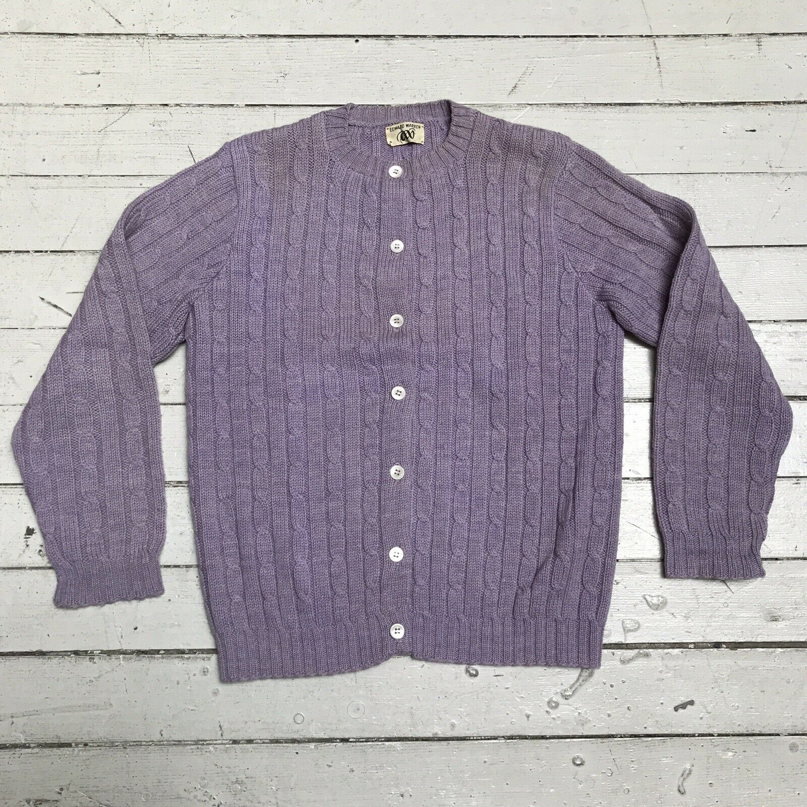 VTG EDWARD WARREN Light Purple Lilac Cable Knit S… - image 1