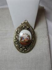 Locket Handpainted Porcelain Miniature Superb Large Antique Belle Epoque c1920