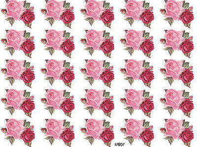 2 DiE 4! 25 SMaLL PinK & ReD RoSeS ShaBbY WaTerSLiDe DeCALs ~KNoBs~HanGeRs~
