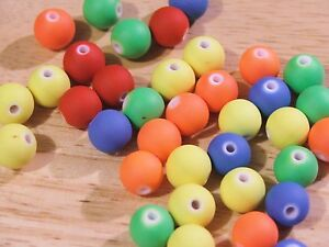 40-x-12mm-Round-Rubberized-Satin-Acrylic-Beads-in-a-choce-of-BRIGHT-NEON-COLORS
