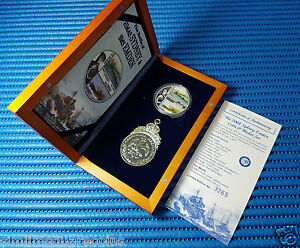 2004-Cook-Islands-HMAS-Sydney-amp-SMS-Emden-1-oz-Silver-Proof-Coin-and-Medal-Set