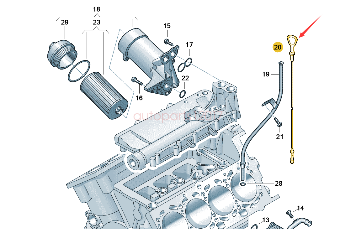 GENUINE OE AUDI A4 S4 01-08 A6 S6 05-08 V8 4.2 PETROL ENGINE OIL DIPSTICK