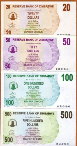 P-40-41-42-43 2006 UNC SET Zimbabwe 20;50;100;500 dollars