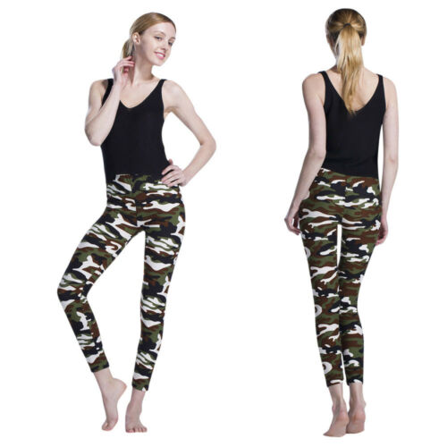 Womens Camouflage Pants High Waist Stretch Leggings Sports Pencil Trousers NIce