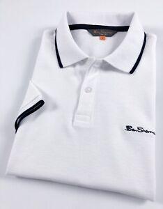 Ben-SHERMAN-POLO-SHIRT-MEN-039-S-Regular-Fit-Bianco-Punta-due-bottoni-0062513