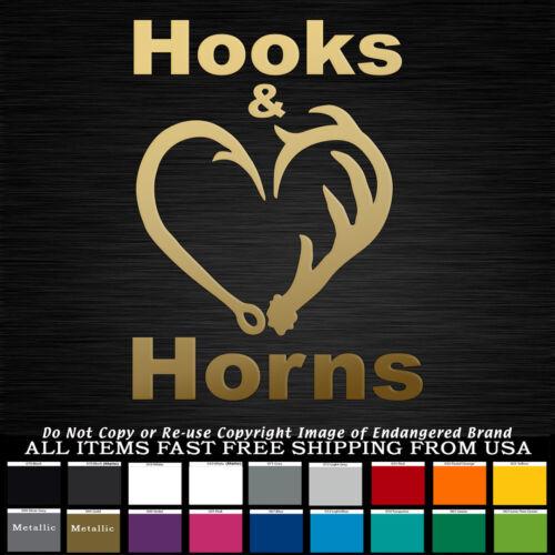 Hooks /& Horns Deer hunting Antlers Fish hooks Fishing hunting decal sticker