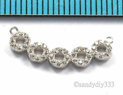 1x RHODIUM STERLING SILVER CZ CRYSTAL CURVE LINK CHANDELIER CONNECTOR BEAD #2695