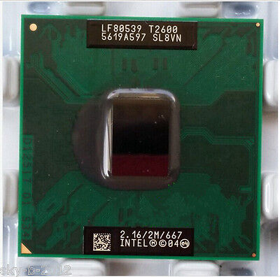 Intel Core Duo T2600 SL8VN SL9JN 2.16 GHz 2MB 667MHz 32 Bit Socket Processor .