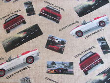 CAMARO RACE CARS FLANNEL GENERAL MOTORS CONVERTIBLE on COTTON Priced By The Yard