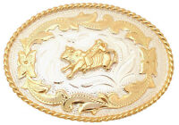 Western Pleasure German Silver Bull Rider Belt Buckle Kids Youth Size 2 3/4 X 2