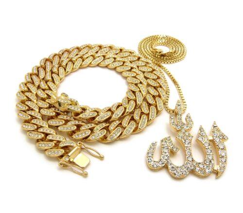 Hip Hop Iced Out Cuban Choker Chain /& Muslim Allah Pendant w// box chain necklace