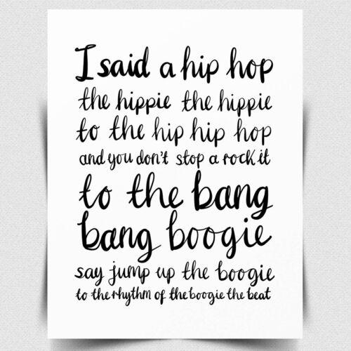 METAL PLAQUE Rappers Delight Print Sugarhill Gang 70s Print Rap Lyrics Print