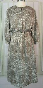 Vintage-Pellini-Size-14-Midi-Dress-A-Line-Satiny-Blouson-3-4-Sleeves-Taupe