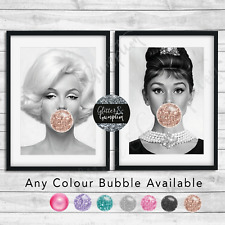 Bubblegum Marilyn Monroe, Audrey Hepburn Beauty Bedroom Wall Fashion Art Print